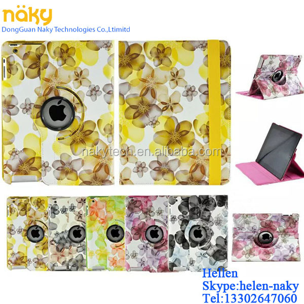 NEW Lucky Flower Design 360 Rotating PU Leather Case Smart Cover Stand For iPad air / 5