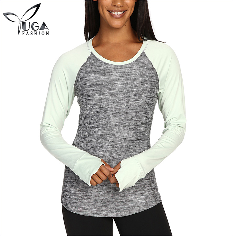 Women Round Neck Active Basic Athletic Fitted T Shirt