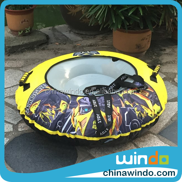 kids snowmobile PVC 2 person inflatable snow sled tube