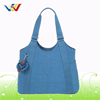 Factory Wholesale Customized Green Colo Perforated Lady Beach Shopping Tote Bag Travel Hand Bag