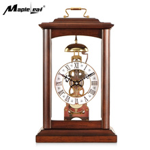 High Quality No Battery Operated Retro Mechanical Movement Pendulum Skeleton Table & Desk Clock with Solid Wood Frame