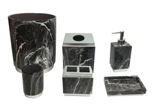 High-end hotel decorative black marble polyresin bathroom accessory