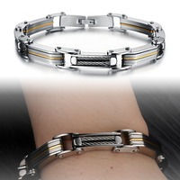 Wholesale new 2015 fashion jewelry trend of men laminated personalized titanium steel bracelets bangles for men's Gift GS691