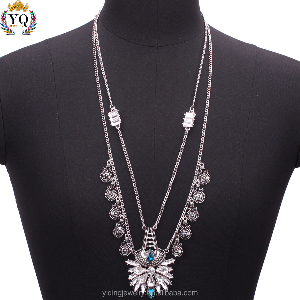 NYQ-00490 latest design antique silver round alloy decorated crystal pendant multi layered lariat necklace for women gift party