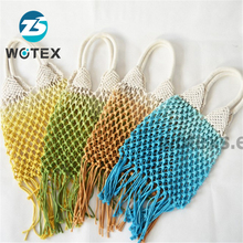 NG108 2019 New style handmade weave tote <strong>gradient</strong> macrame shoulder <strong>bags</strong> sugar-colored cotton rope macrame <strong>bag</strong> for ladies
