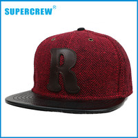Flat Bill Patch Embroidery Wool Baseball Caps For Men