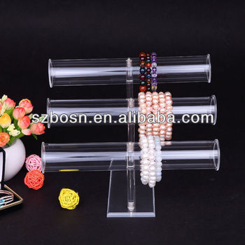Clear acrylic bangles display holder 3 tier bracelet stand