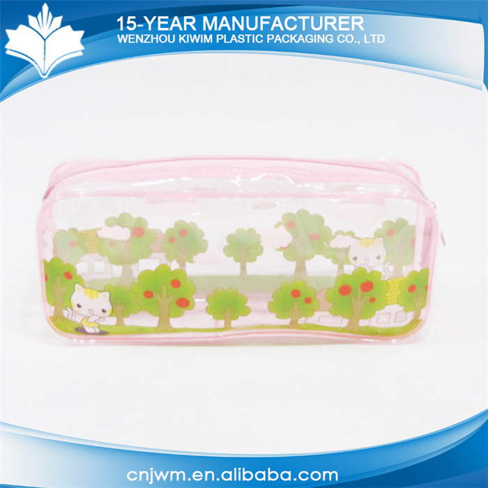 Promotional factory price school use pvc zipper clear cheap kids pencil case
