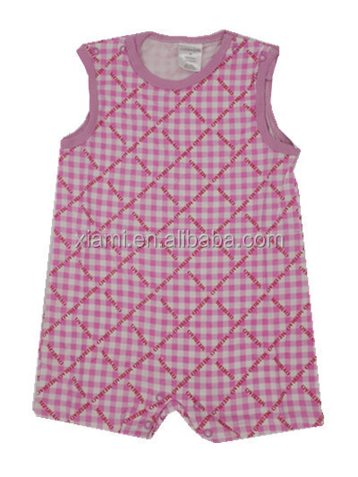 new style individuality design 100% cotton custom print red grid baby apparel
