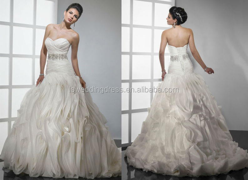 WD1222 2014 unique design off shoulder sweetheart neckline ruched bodice crystals sash high waist big ball gowns for wedding