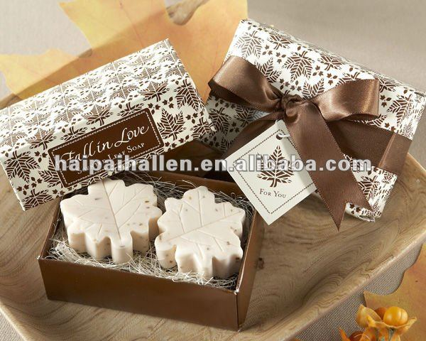 Fall in Love Scented Leaf Shaped Soap for wedding favors