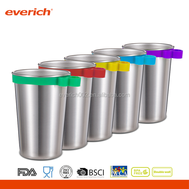 16oz Party Cup 18/8 Stainless Steel Pint Cup with handle