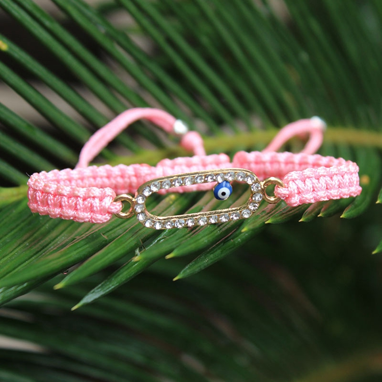 Girl Brithday's Gifts Crystal Charm Evil Eye Braided Pink Ribbon Bracelet In Stock