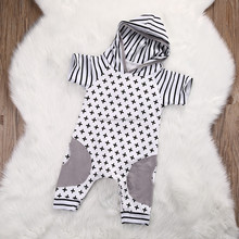 2017 New Arrival Baby Cross Striped Hooded Rompers Newborn Baby Summer Short Sleeve Cotton Jumpsuit Playsuit