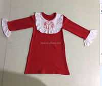 Latest design in kids wear one piece dress simple monogram embroidery boutique children dress models