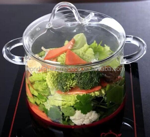 high quality heat reistant glass soup pot/large stew pot