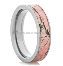 New design tree branches titanium bands wedding gift Pink camo ladies finger ring