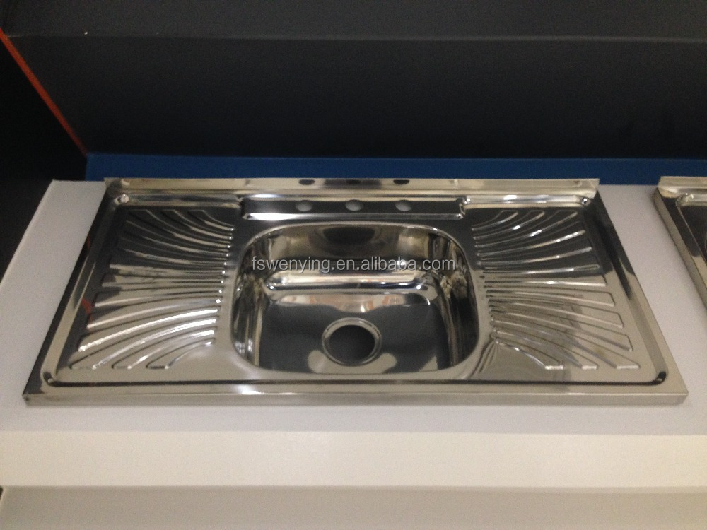 Humanized design single bowl above counter kitchen sink with drainboard with competitive price 10050