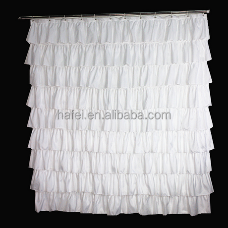 polyester white solid color lace waterproof shower curtains