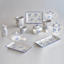 Japanese style dinner set with hand painted design