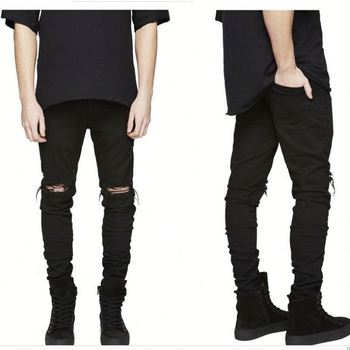 Oem cheap slim fit ripped mens denim jeans stretch ripped high  male trousers