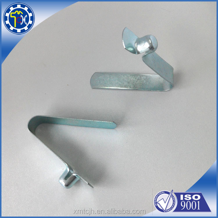 Factory manufacturing aluminum V shape spring clip with button for furniture
