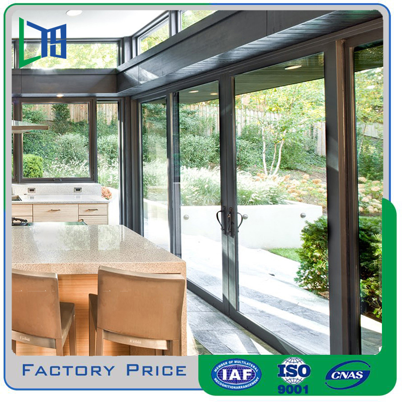 LYS price Double tempered glass Aluminum Sliding Door factory In Foshan