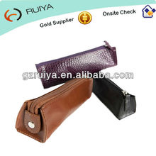 Crocodile Leather Purple Pencil Case with Tabbed Zip an Ideal gift Pen Bag Pencil Pouch for Business Man or Women-JC-014
