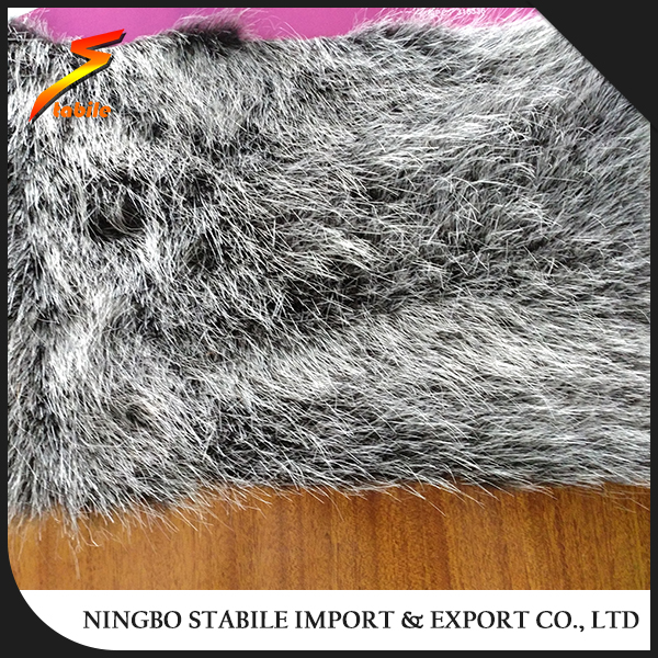STABILE Gray Jacquard long pile plush faux fur fabric
