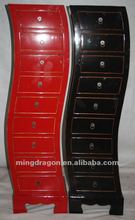 chinese antique furniture colorful black/red pine wood Beijing Nine drawer cabinet