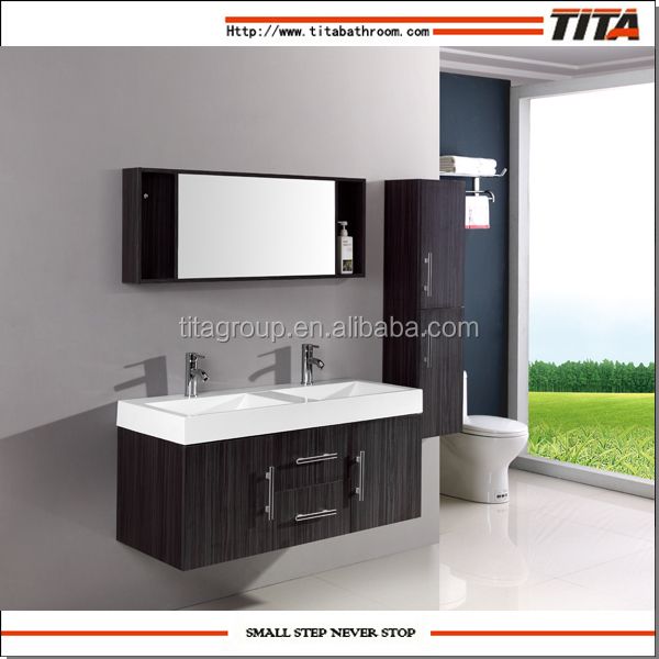 Plywood Wall Mounted Thick Side Ceramic Basin Double Sink Cabinet Vanity TH20152