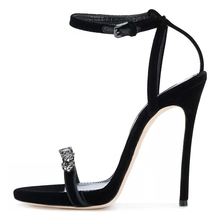 2018 Black Rhinestones Flock women high heels manufacturer women shoes heels sandals