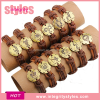In Stock Trendy Expandable Leather Zodiac Bracelet