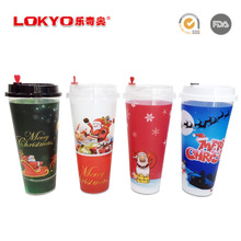 Disposable PP Plastic Party cup Custom print Logo christmas disposable Plastic cup