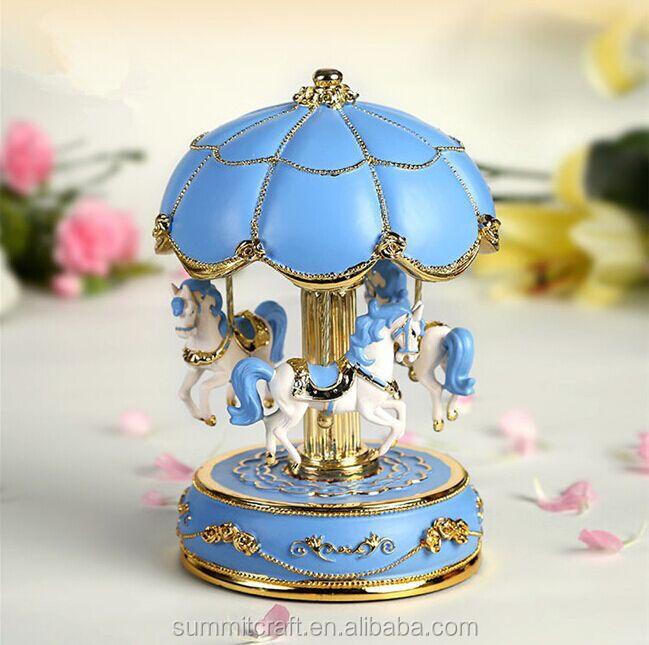 Classical antique music box carousel horse music box