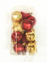 18pcs mixed size plastic christmas bauble set for chtistmas tree ornament