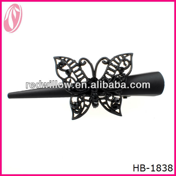 Yiwu Wholesale Make Hairpins Factory Supply Black Butterfly Large Animal Plain Hair Clips