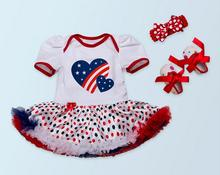 Baby girl romper dress, 4th july 3pcs clothing set, tutu bodysuitwith headband and toddler shoes
