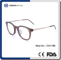 Women Handmade Logo Printed Custom Hot Selling Retro Acetate Round Frame Brown Color Wholesale Spectacle Glasses Optical Frames