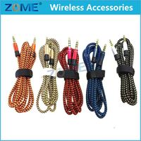Fabric Braided Shield 3.5Mm Audio Aux Cable For Mp3 Mp4 Headphone Nylon Cable