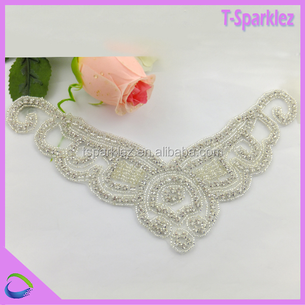 crystal embellishments stoned pattern pearl beaded collar applique