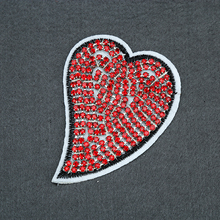 Chinese custom fashion embroideried clothes beaded red rhinestone embroidery patch