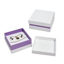 Premium Fashionable Paper Cardboard White And Purple Jewelry Set Gift Box