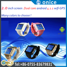 Unlocked GSM mobile watch phone Android 4.1 gps AN1 cell phones with a pedometer one sim card wrist watch phone dual core