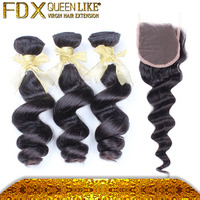 Color 1b Long Lasting Virgin Hair, Loose Curly Peruvian Loose Sew In Weave