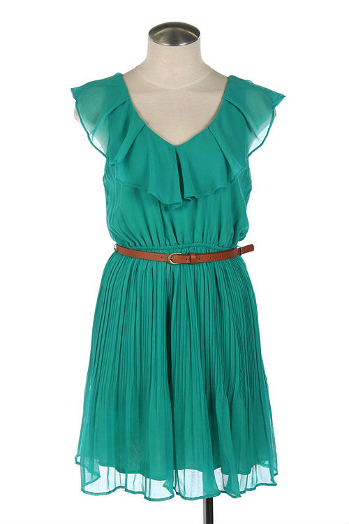 BELTED RUFFLE TRIM PLEATED DRESS D-1343
