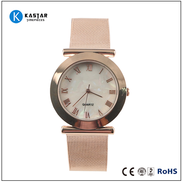 rose gold plating water resist quartz watch with mop dial