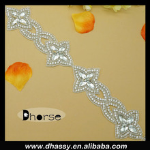 Wholesale star shape crystal applique beaded rhinestone trim DH1600