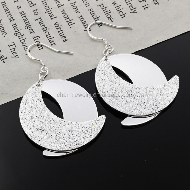 Big Moon shape Women Earring Elegant glaze and rough Earring Charming Latest Fashion Plating Silver Earring for Young Girl DS026