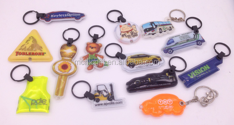 full color printing custom shape cheap pvc led logo keychain